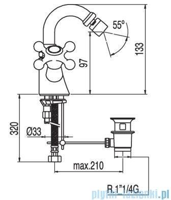 Tres Clasic-Tres Bateria bidetowa ceramiczna bez korka automatycznego 1.32.124