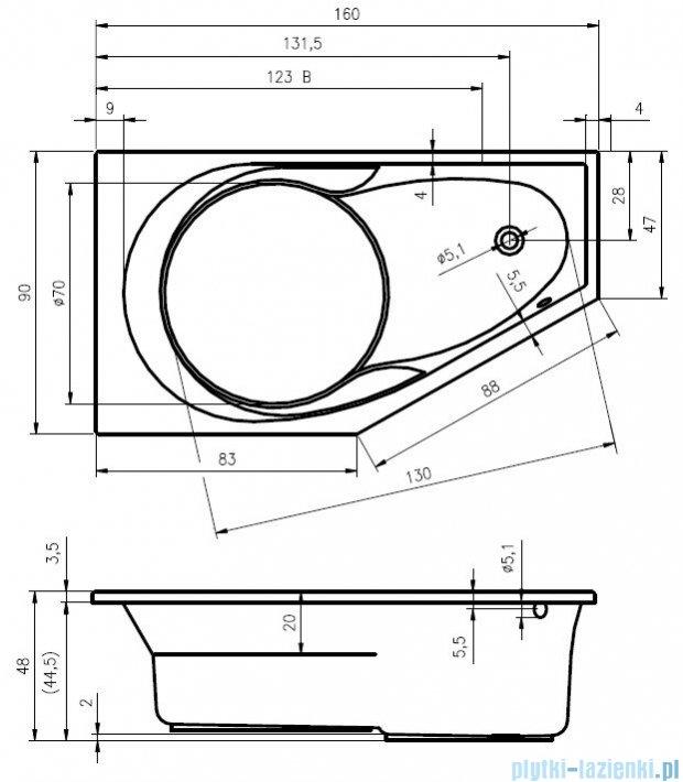 Riho Yukon wanna asymetryczna 160x90 prawa z hydromasażem HIT Hydro 6+4+2 BA34H2