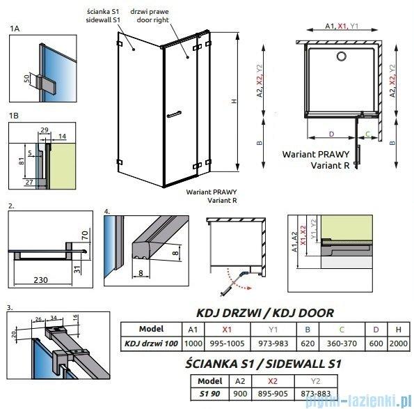 Radaway Euphoria KDJ Kabina prysznicowa 100x90 prawa szkło przejrzyste 383040-01R/383050-01