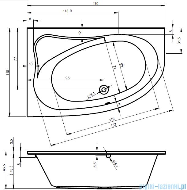 Riho Lyra wanna asymetryczna 170x110cm prawa nóżki+syfon BA63/07/AMC55