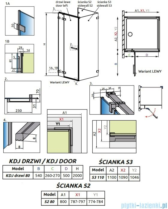 Radaway Euphoria KDJ P Kabina przyścienna 80x110x80 lewa szkło przejrzyste 383043-01L/383031-01/383039-01