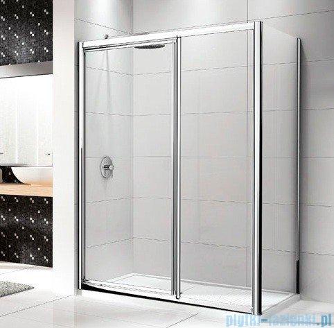 Novellini Drzwi prysznicowe LUNES G+F 96 cm szkło przejrzyste profil biały LUNESGF96-1D