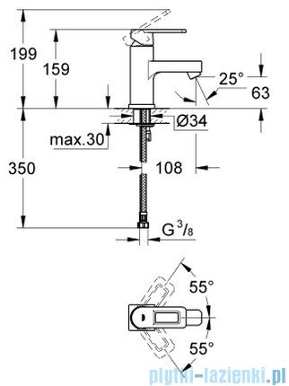Grohe Quadra bateria umywalkowa bez korka DN 15 niska chrom 23105000