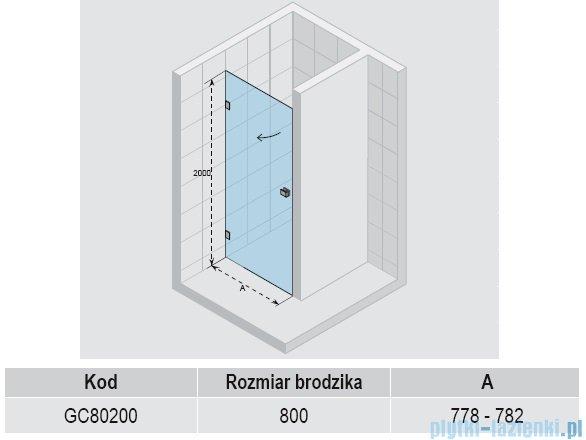 Riho Scandic S101 drzwi prysznicowe 80x200 cm GC80200