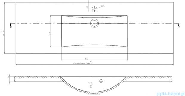 Antado Clever Umywalka dolomitowa 100x39cm UMMC-1000X390