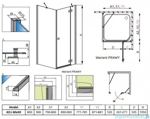 Radaway Almatea Kdj Gold kabina prysznicowa 80x90 prawa szkło przejrzyste 32146-09-01NR
