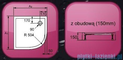 HUPPE Brodzik półokrągły Xerano ze zintegrowaną obudową 90x90cm +nóżki R=50cm 840201