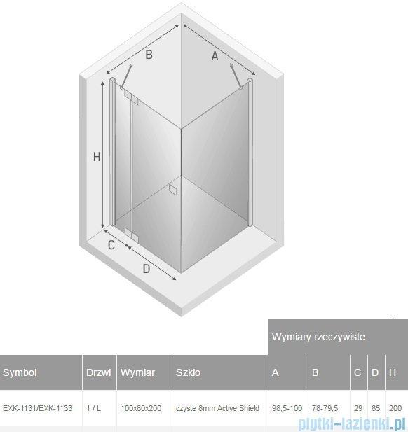 New Trendy kabina Kamea 100x80x200cm lewa przejrzyste EXK-1131/EXK-1133