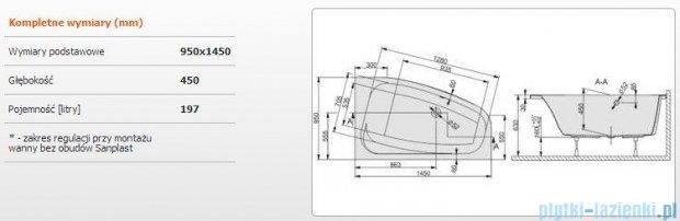 Sanplast Free Line Wanna asymetryczna prawa+stelaż WAP/FREE 145x95+ST26, 610-040-0750-01-000