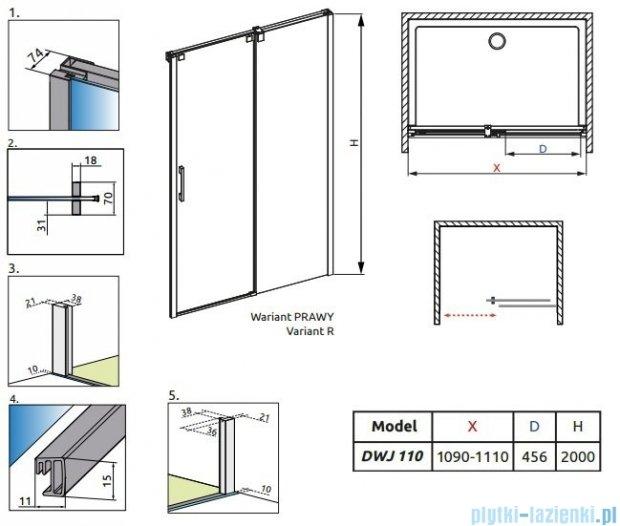 Radaway Espera DWJ Drzwi wnękowe przesuwne 110 prawe szkło przejrzyste 380111-01R