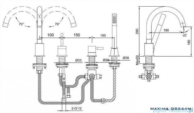 Kohlman Maxima 4-otworowa bateria wannowa QB244M