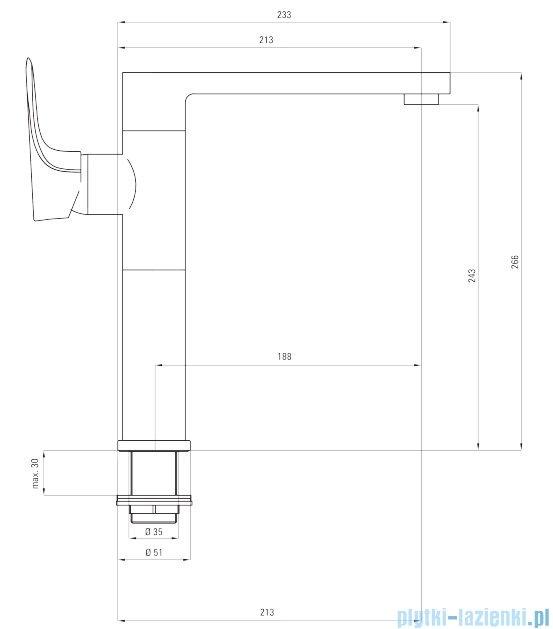Deante Gardenia bateria zlewozmywakowa stojąca z prostokątną wylewką chrom BEG 063M
