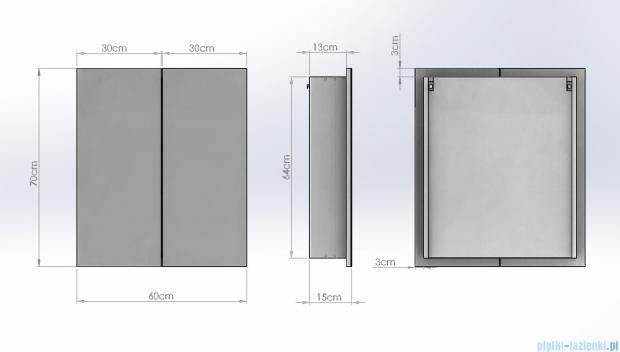 Antado Anta Szafka lustrzana 2-drzwiowa 60x15x70cm AN-060