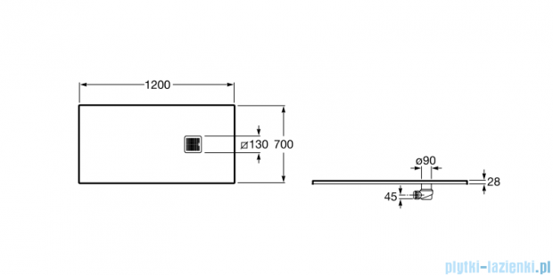 Roca Terran 120x70cm brodzik prostokątny konglomeratowy czarny AP014B02BC01400