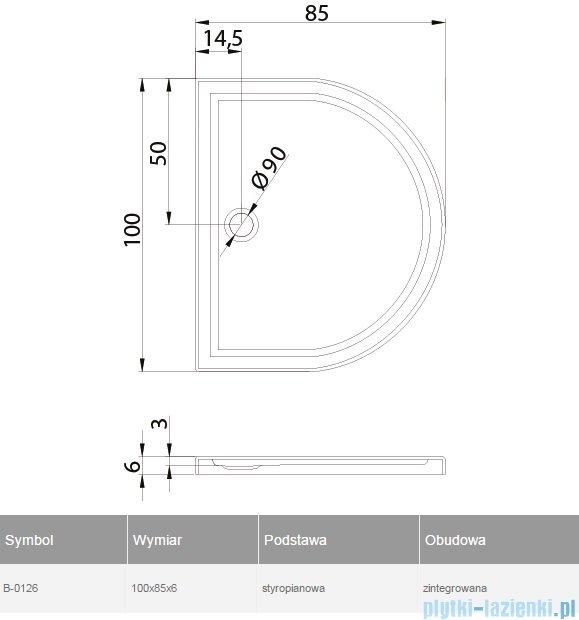 New Trendy Circus Ultra brodzik przyścienny posadzkowy na podstawie styropianowej 100x85  B-0126