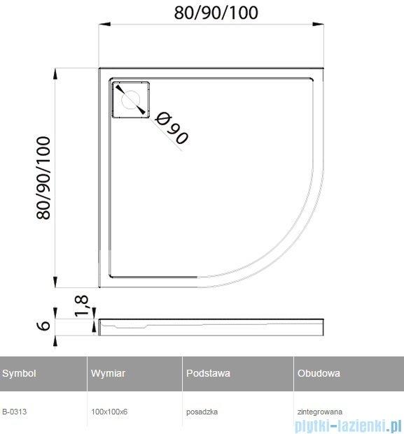 New Trendy Lido brodzik półokrągły 100x100x6cm B-0313
