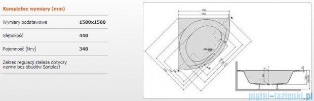 Sanplast Prestige Wanna symetryczna+stelaż WS/PR 150x150+ST16, 610-070-0350-01-000