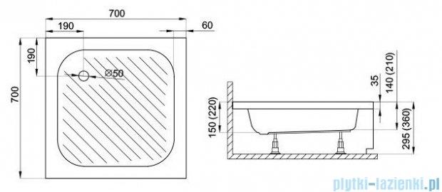 Polimat Karen brodzik kwadratowy ze stelażem 70x70x15 00207