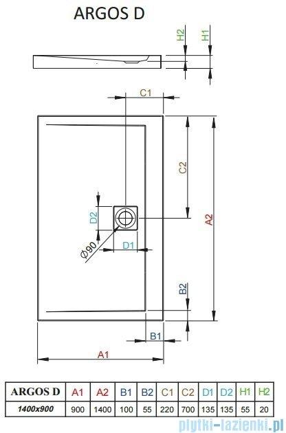 Radaway Brodzik prostokątny Argos D 140x90x5,5 cm 4AD914-01