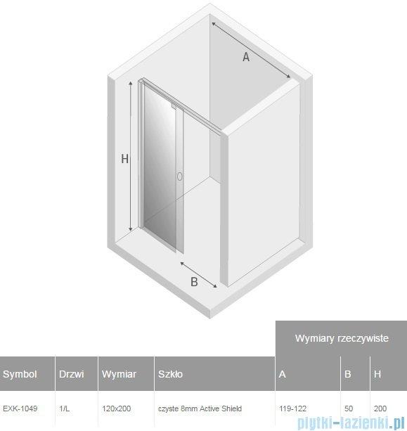 New Trendy Porta drzwi prysznicowe 120x200cm lewe szkło przejrzyste EXK-1049