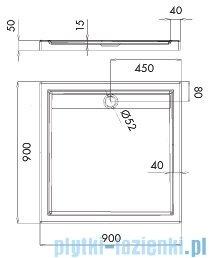 Schedpol Ajax brodzik kwadratowy z klapką odpływu 90x90x4,5cm 3.4226