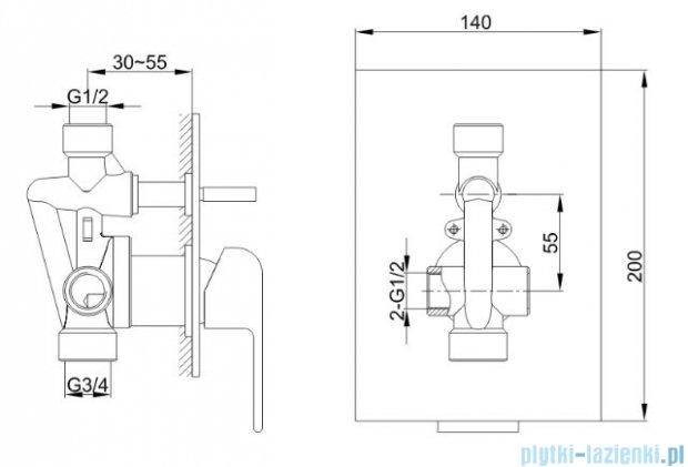 Kohlman Saxo zestaw prysznicowy chrom QW210SQ30