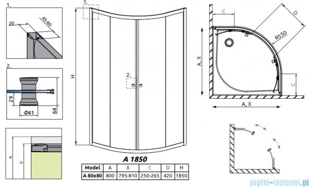 Radaway Classic A Kabina prysznicowa półokrągła z drzwiami przesuwnymi 80x80x185 szkło przejrzyste 30010-01-01