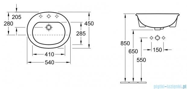 Villeroy&Boch O.novo Umywalka do wbudowania z przodu blatu  540x450    41605501