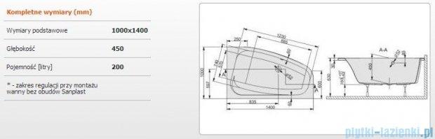 Sanplast Free Line Wanna asymetryczna prawa+stelaż WAP/FREE 140x100+ST27, 610-040-0850-01-000