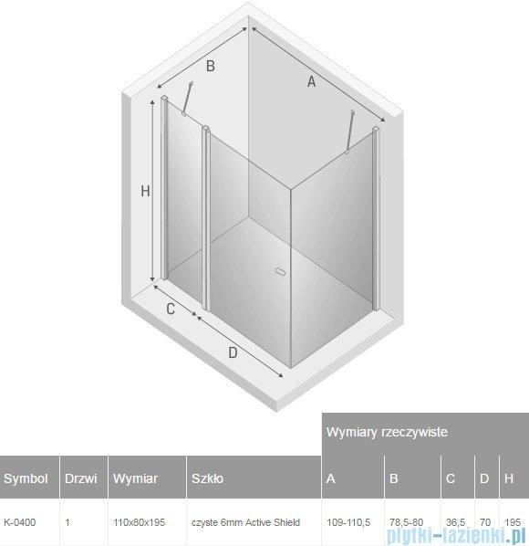 New Trendy New Soleo 110x80x195 cm kabina prostokątna przejrzyste K-0400