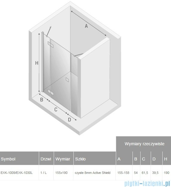 New Trendy Modena Plus drzwi prysznicowe 155cm lewe szkło przejrzyste EXK-1009/EXK-1030L