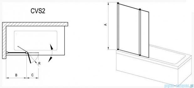 Ravak Chrome Parawan CVS2-100 R satyna+transparent, prawy 7QRA0U00Z1