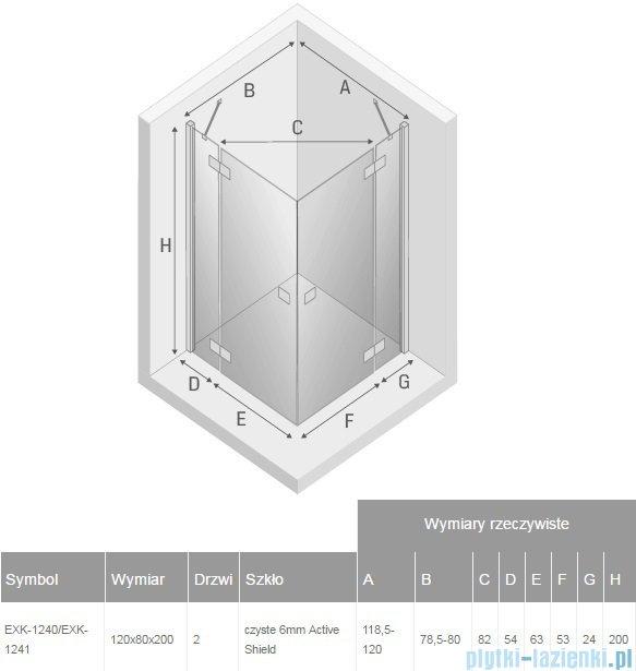 New Trendy Reflexa 120x80x200 cm kabina prostokątna przejrzyste EXK-1240/EXK-1241