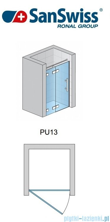 SanSwiss Pur PU13 Drzwi 1-częściowe wymiar specjalny profil chrom szkło Efekt lustrzany Lewe PU13GSM21053