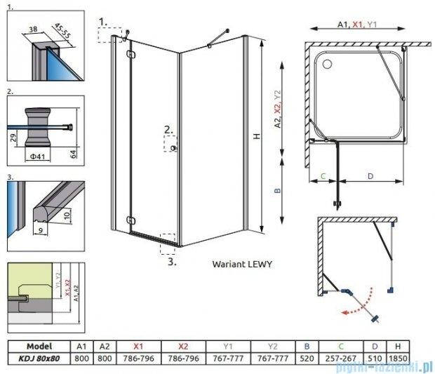 Radaway Torrenta Kdj kabina kwadratowa 80x80 lewa szkło przejrzyste + Brodzik Delos C + syfon 32212-01-01NL