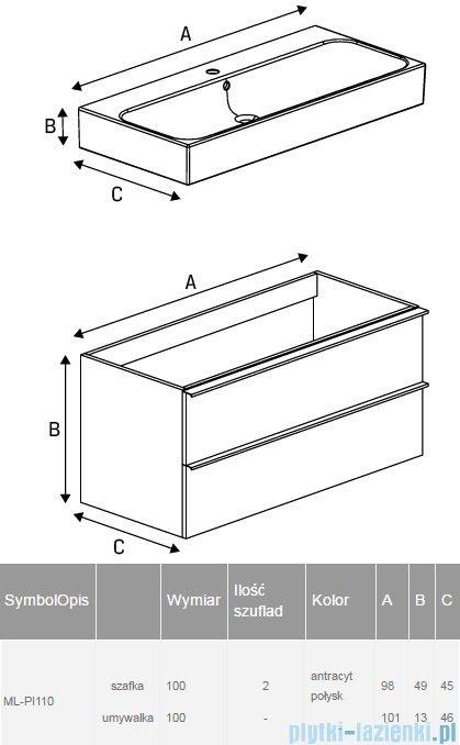 New Trendy Kubiko szafka wisząca podumywalkowa + umywalka 100 cm antracyt połysk ML-PI110