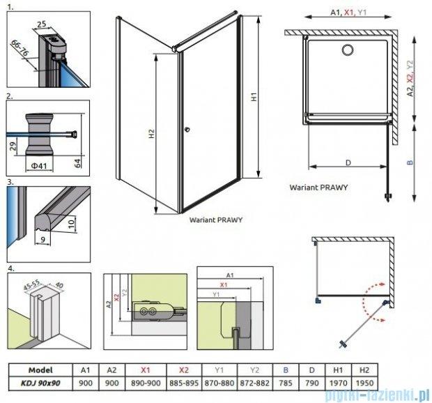 Radaway Eos KDJ kabina prysznicowa 90x90 prawa szkło przejrzyste 37503-01-01NR