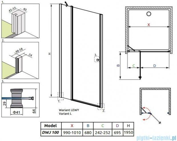 Radaway Eos II DWJ Drzwi prysznicowe 100x195 lewe szkło przejrzyste + brodzik Delos C + syfon 3799442-01L/SDC1010-01