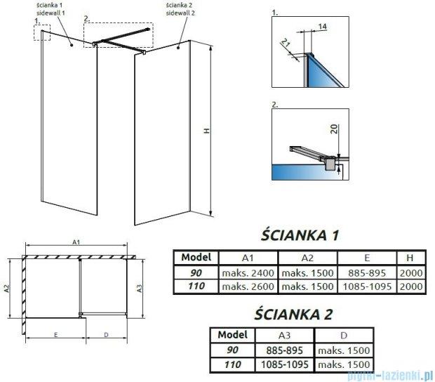 Radaway Modo New III kabina Walk-in 110x90x200 szkło przejrzyste 389114-01-01/389094-01-01/389000-01