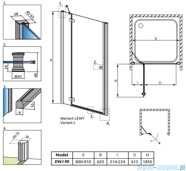 Torrenta DWJ Radaway drzwi wnękowe 90 lewe szkło carre 31900-01-10N