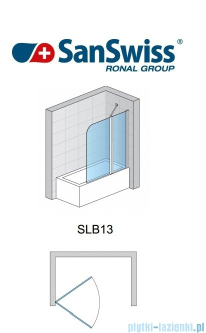 SanSwiss Swing Line SLB1 Parawan 1-częściowy 50-100cm profil połysk Prawy SLB1DSM15007