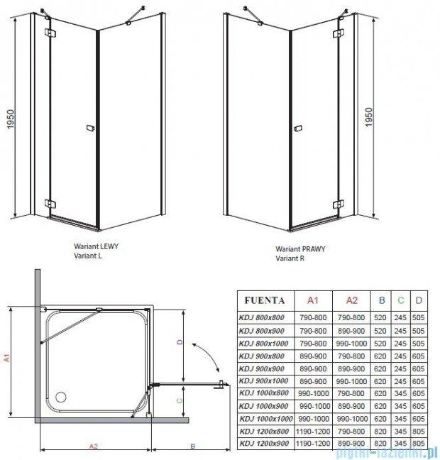 Radaway Kabina prysznicowa Fuenta KDJ 120x80 lewa szkło przejrzyste + Brodzik Argos D + syfon 381042-01L