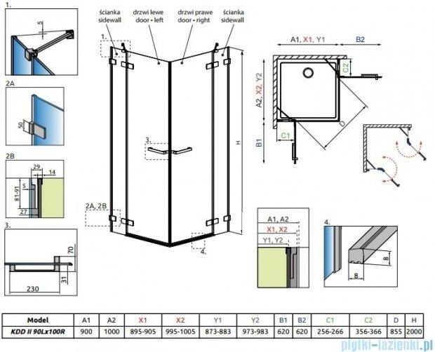 Radaway Arta Kdd II kabina 90x100cm szkło przejrzyste 386455-03-01L/386170-03-01L/386455-03-01R/386172-03-01R