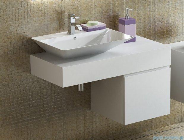 Antado Combi szafka z blatem lewym i umywalką Libra biały/jasne drewno ALT-140/45GT-WS/dn+ALT-B/3-1000x450x150-WS+UCS-TC-66
