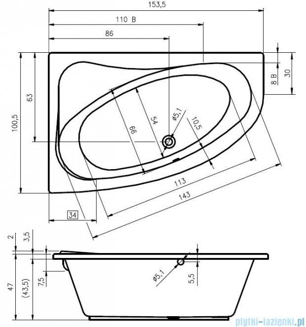 Riho Lyra wanna asymetryczna prawa 153x100 z hydromasażem Hit Aero11 BA67H1