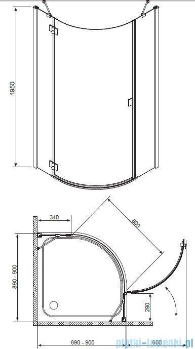 Radaway Essenza PDJ kabina 90x90 prawa szkło przejrzyste + brodzik Delos A + syfon