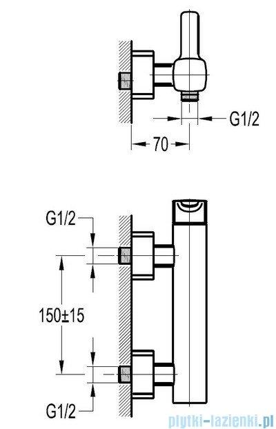 Omnires Hudson bateria natryskowa ścienna chrom HS4140