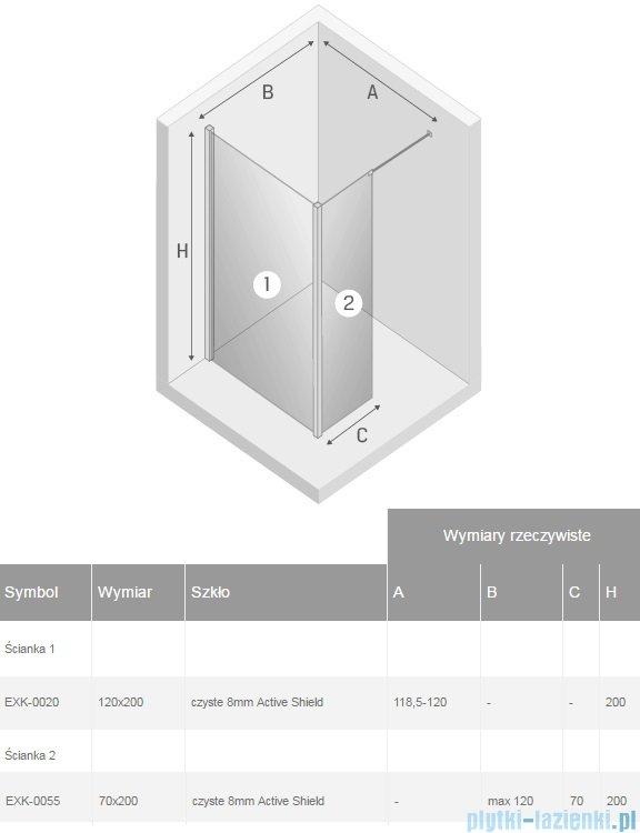 New Trendy New Modus kabina Walk-In 120x70x200 cm przejrzyste EXK-0020/EXK-0055
