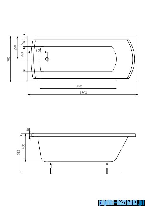 Roca Linea wanna 170x70cm z hydromasażem Effects Titanium A24T041000