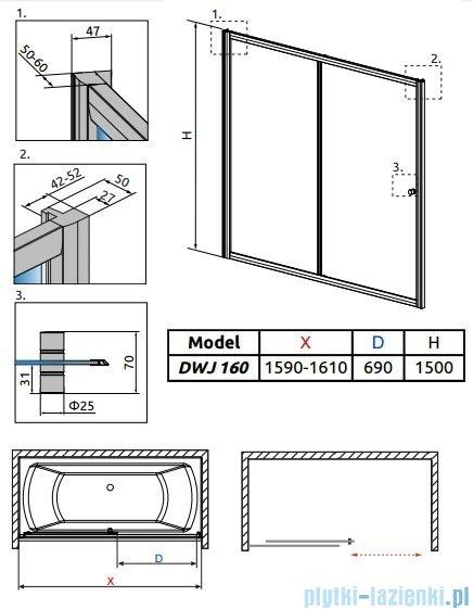 Radaway Vesta Dwj drzwi przesuwne 160 cm szkło fabric 209116-01-06